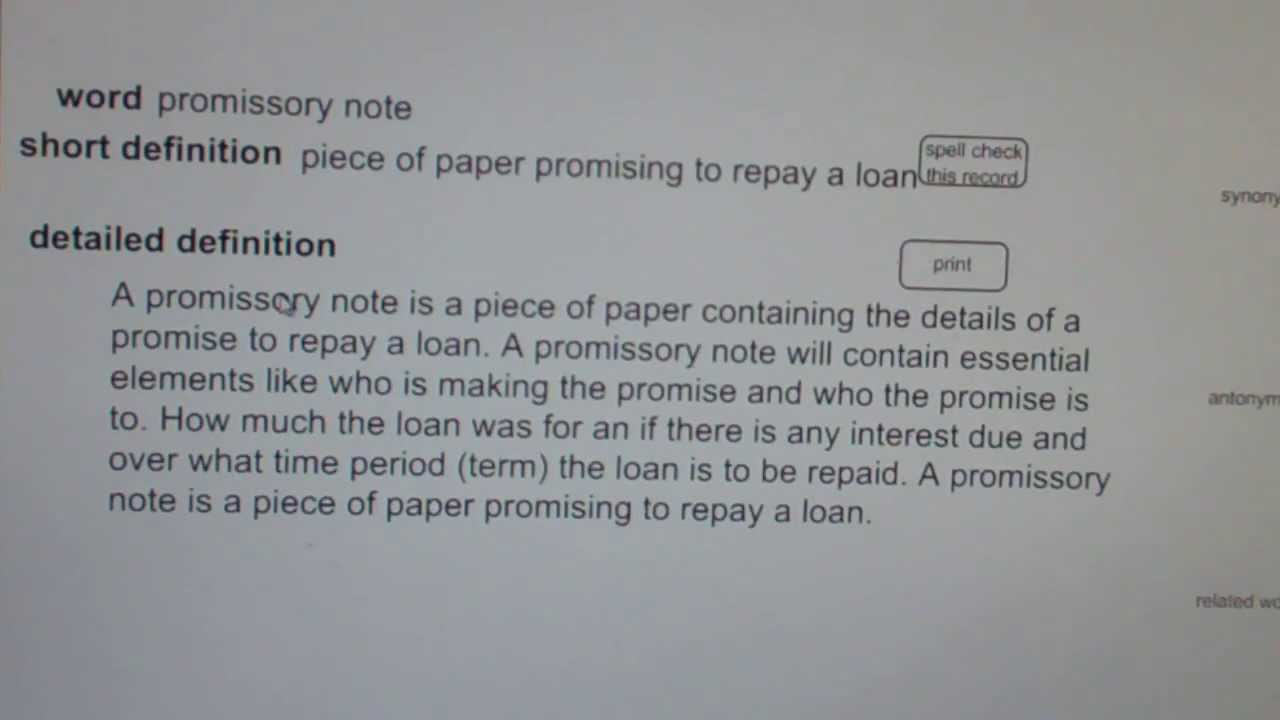 promissory note CA Real Estate License Exam Top Pass Words – Promissory Note Word