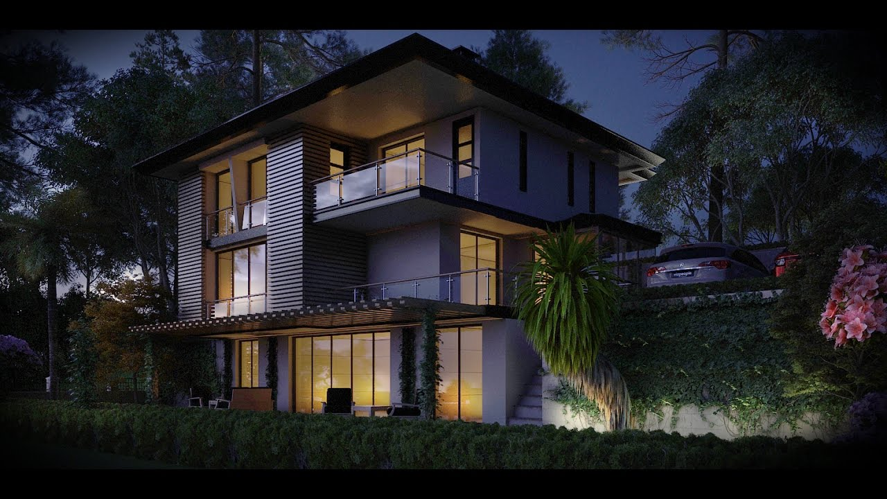 V ray dome l ght and physicalcam exterior n ght rendering - Vray realistic render settings exterior ...