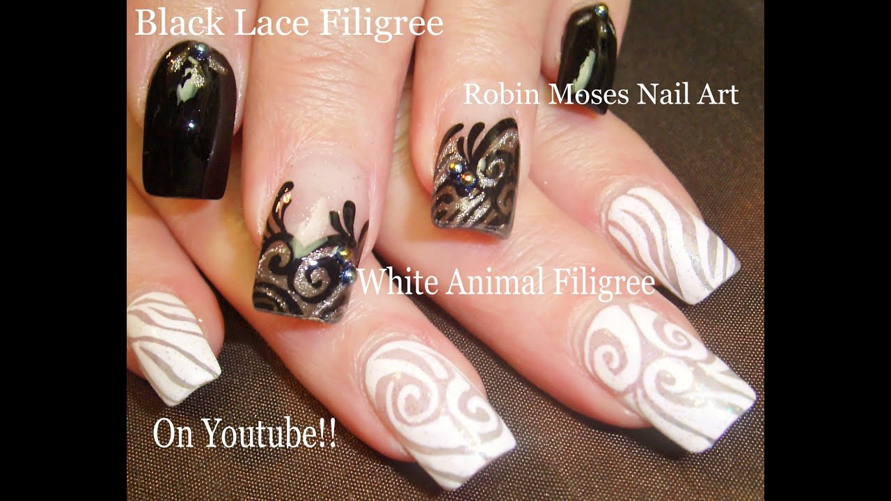 black and white lace nails elegant filigree nail art