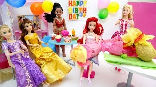 Disney Princesses Ariel Birthday Party Barbie Doll Morning Routine Dress Up Pink Bedroom w/ Presents