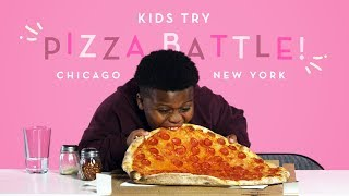 Kids Try Pizza Battle New York Thin Crust vs Chica
