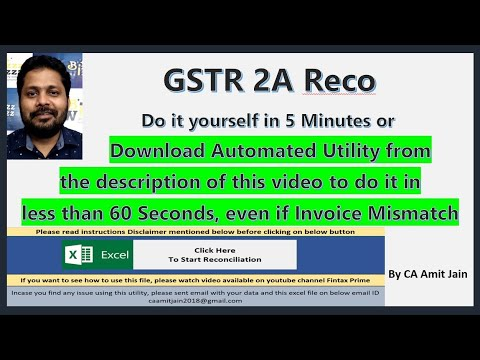 GSTR 2A Reconciliation In Few Easy Steps In Excel In 5 Minutes