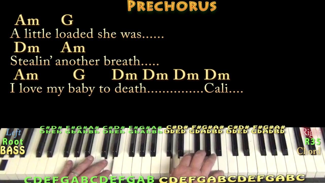Dani California RHCP Piano Cover Lesson in Am with Chords/Lyrics    Arpeggios