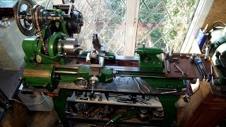 1941 Atlas 10f lathe, parting off using power feed.