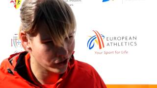 Nadine Muller (GER) after winning Discus