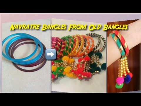 Easy Navratri Special Bangles from Old Bangles/Craft from Waste/Bangles from wool