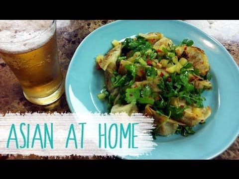 Appetizer Recipe : Fried Dumplings with Cilantro Salad Recipe : Asian at Home