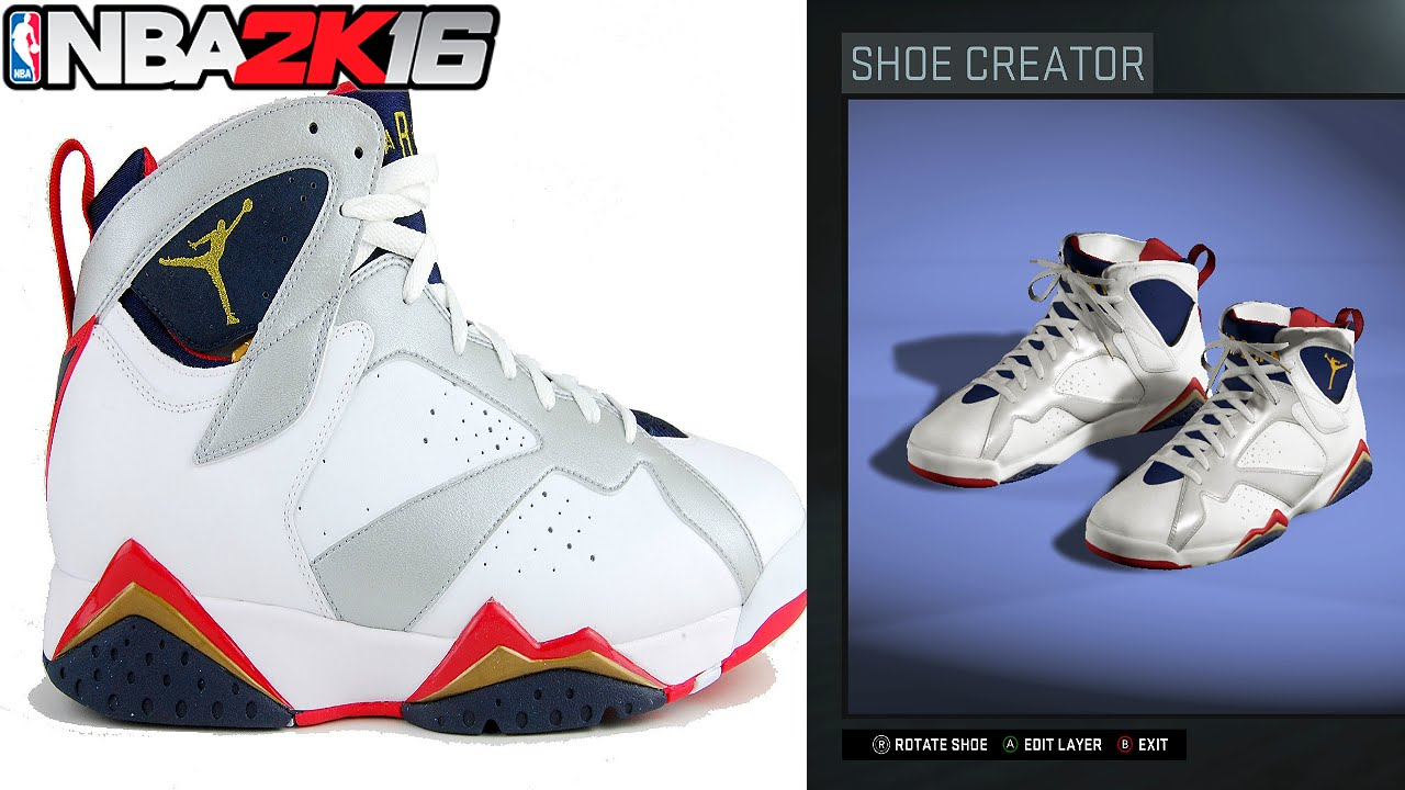 8abbc1c3dec3 NBA 2K16 Shoe Creator Air Jordan 7 retro Olympic - YouTube