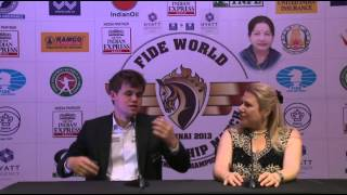 Woirld Chess Champion Magnus  Carlsen in conversation with Susan Polgar