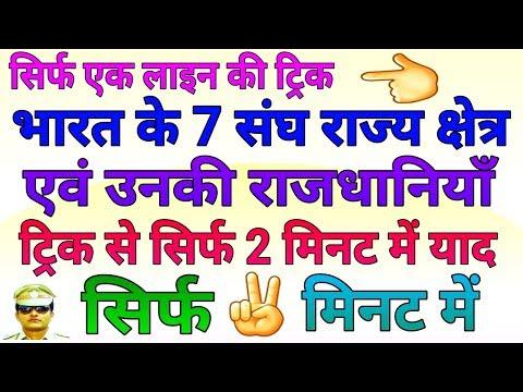 GK TRICK | भारत के संघ राज्य क्षेत्रों की राजधानियाँ, All 7 Union Territories of India with Capitals