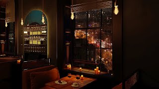 Cozy New York Restaurant ambience - Relaxing Jazz music, rain, city lights  [3 hours]