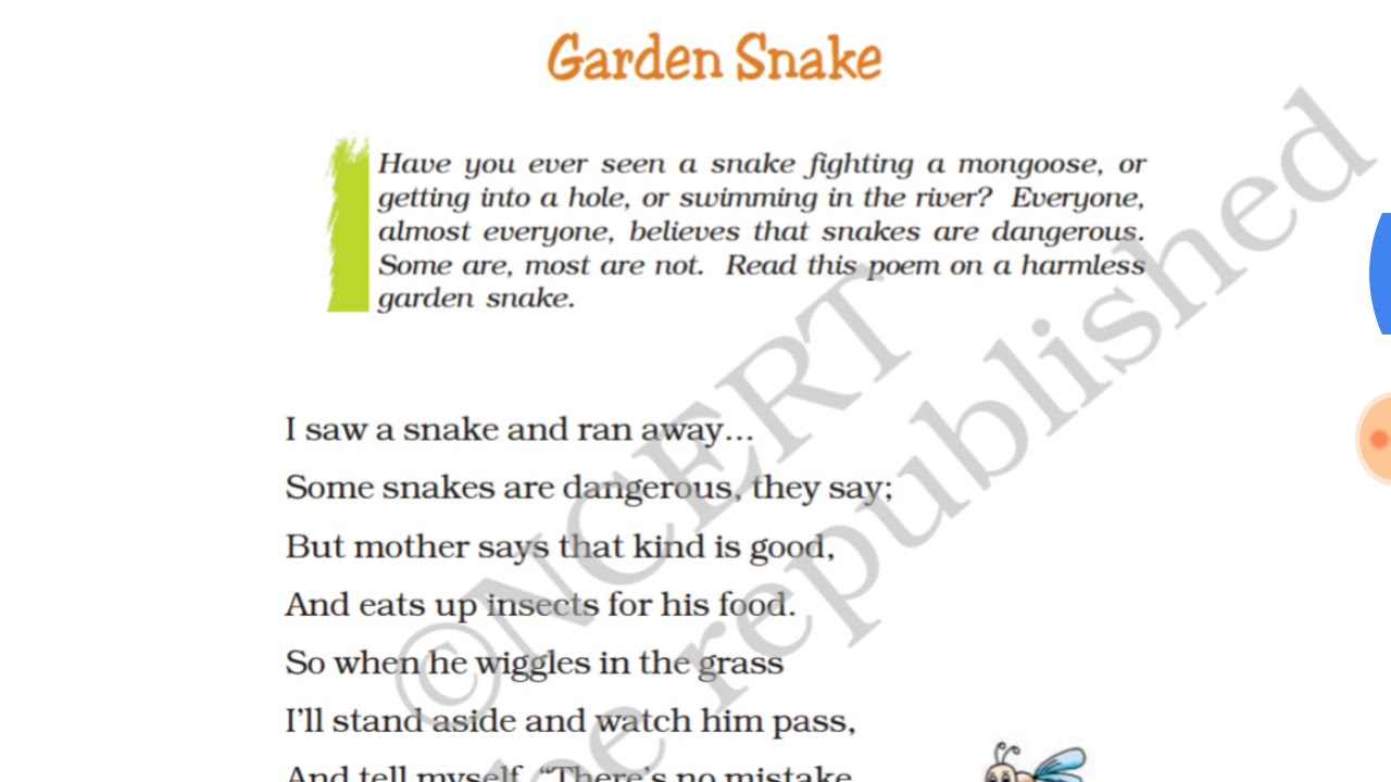 Class 7th Garden snake poem with QUESTIONS ANSWERS