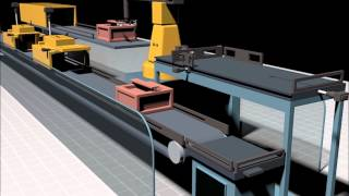 Sketchup Simulation ( industrial assembly line with robots)