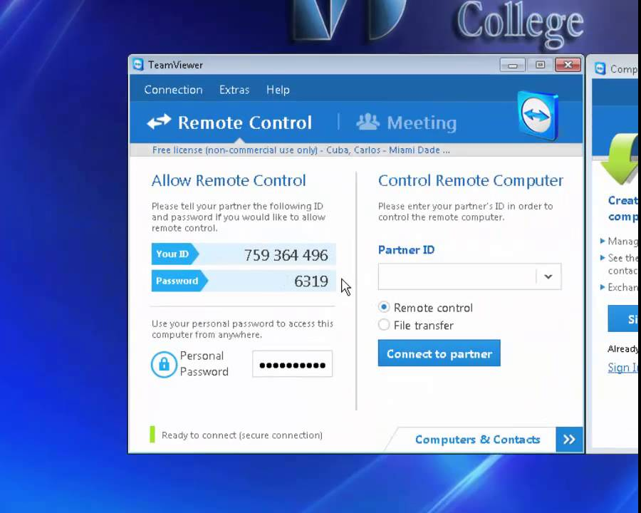 Connecting to Partner Computer in TeamViewer