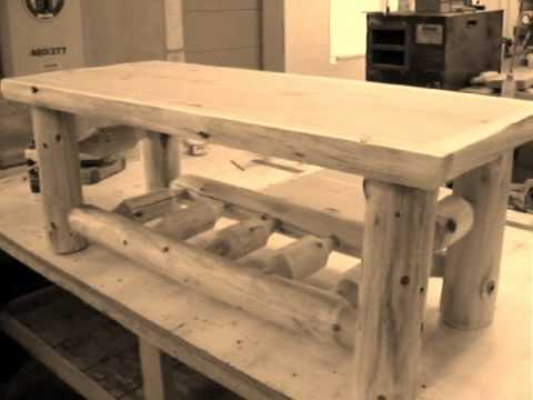 The Log Furniture Store Cedar Log Coffee Table Youtube