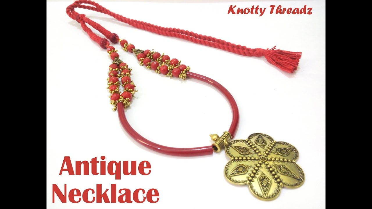 How to make antique jewelry necklace at home tutorial youtube aloadofball Choice Image