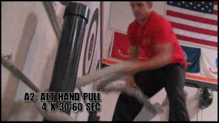 4x4 Rope Waves & Pulls Battling Rope Workout