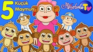 Be Kk Maymun  Five Little Monkeys Trke  Bebek arklar  ocuk arklar  Adisebaba