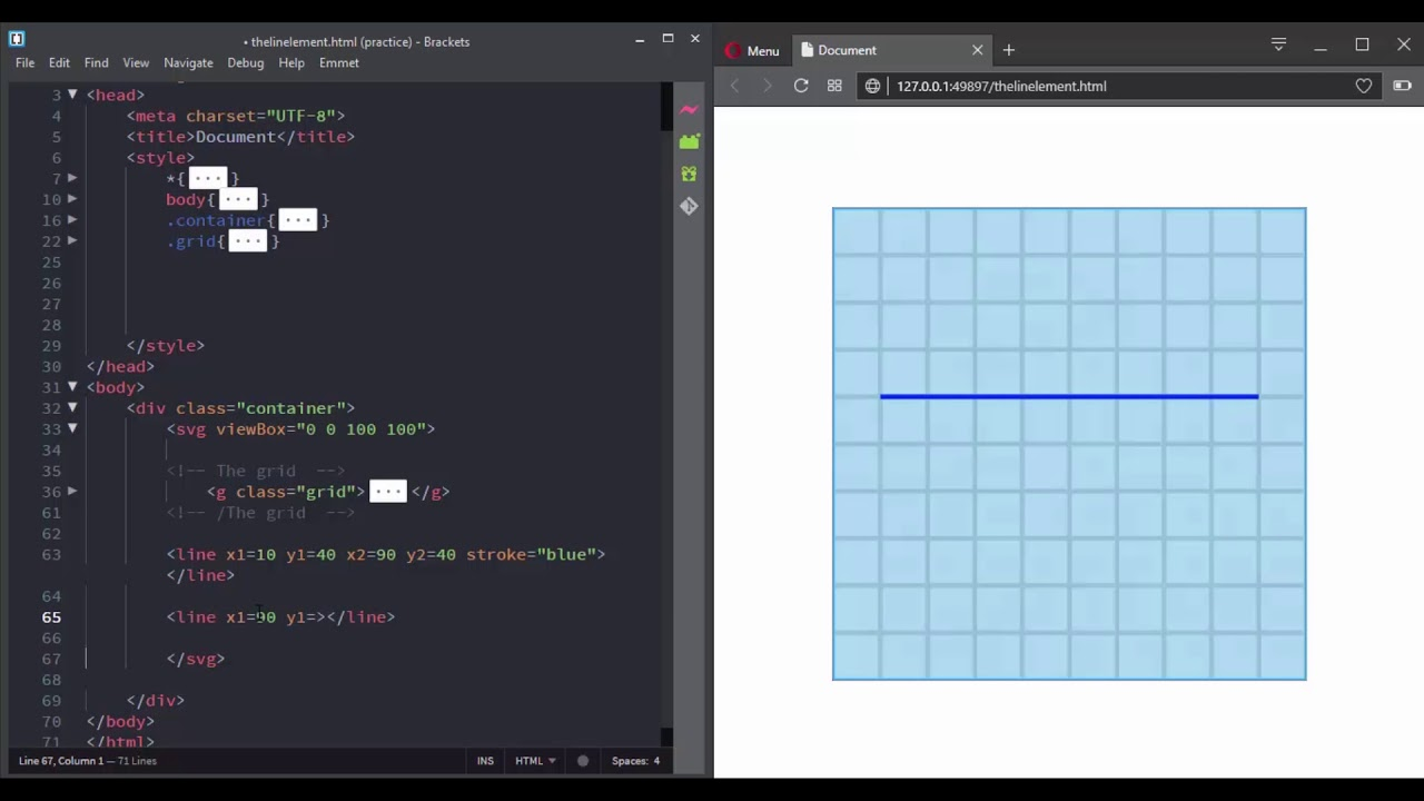 Create a line with SVG using the text editor ( the line element )