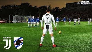 PES 2019 | Juventus vs Sampdoria | C.Ronaldo 2 Free Kick Goal | Gameplay PC