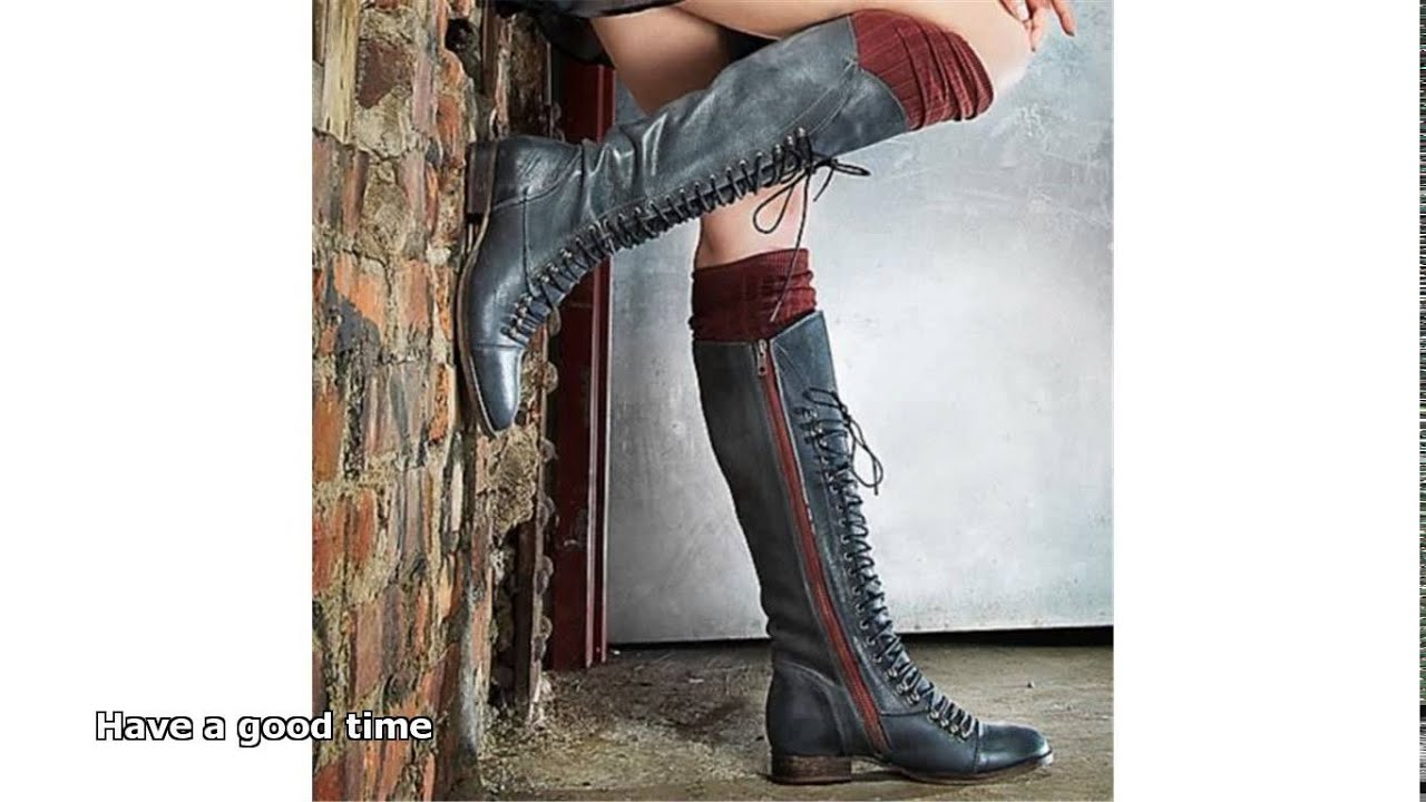 knee high lace up boots - YouTube