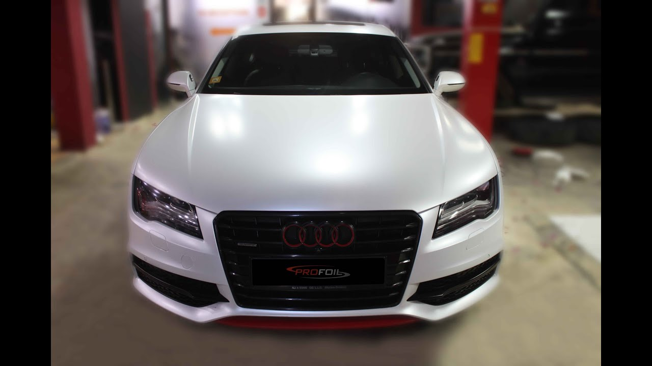 Car Wrap Dubai Audi A7 Wrapped In White Pearl Semi Matte Youtube