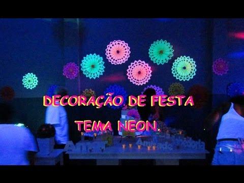 Fotos Decoração 18 Anos Tema Neon Canal Gêmea Flor