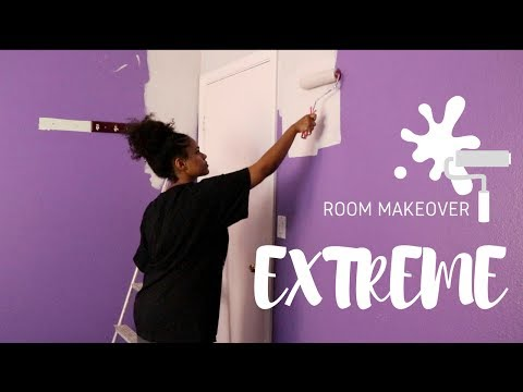 VERY EXTREME bedroom makeover | from BRIGHT purple to grey | Mary Fasil