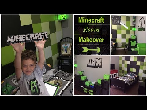 Minecraft Room Makeover Diy Minecraft Decor For Bedroom Youtube