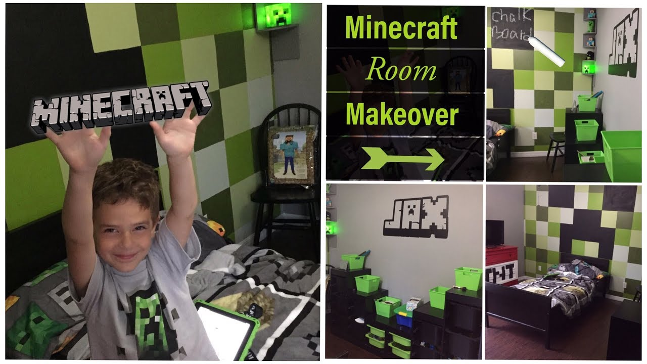 Minecraft Room Makeover Diy Minecraft Decor For Bedroom Youtube