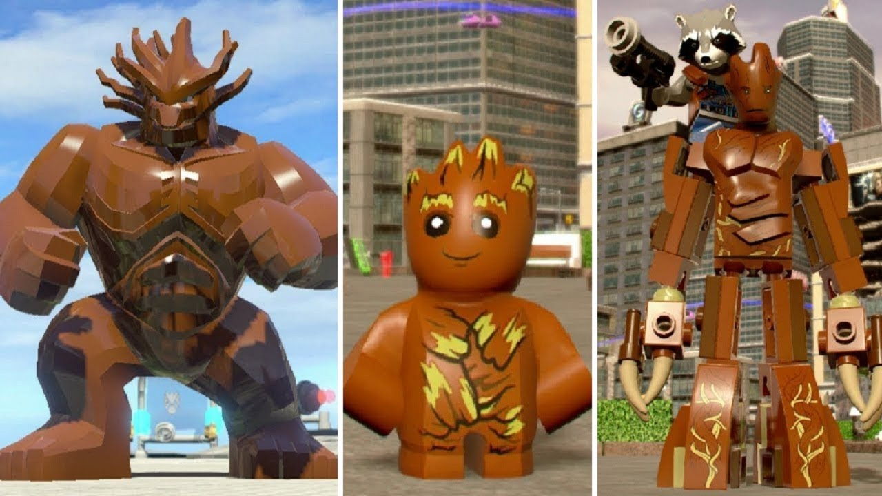 Evolution of Groot in LEGO Marvel Videogames