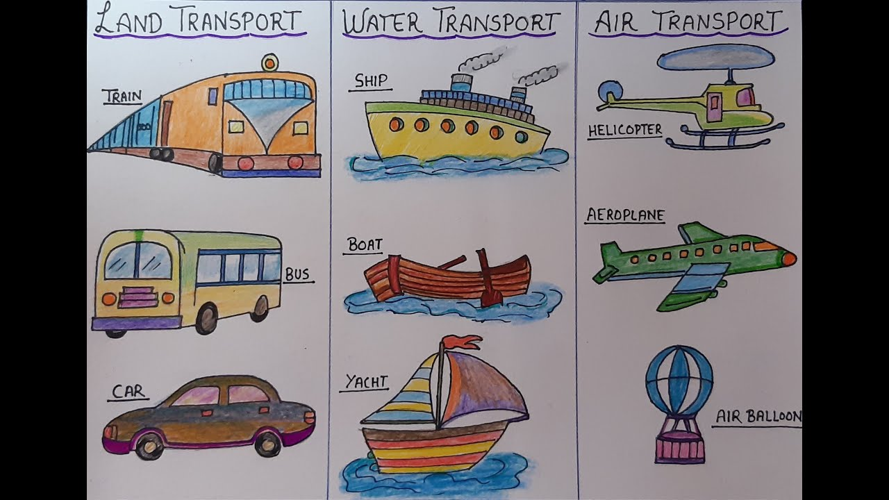 Drawing Of Transportation For Kids L How To Draw Vehicles Step By