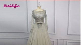 Luxury Tulle Beading Long Sleeve Prom Dresses / Evening Party Dress  review on AliExpress