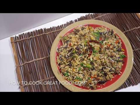 Mushroom Fried Rice Recipe - Shitake Vegan