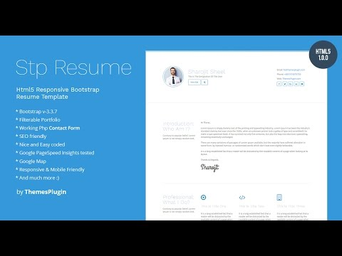 html5 responsive bootstrap resume template for personal profile