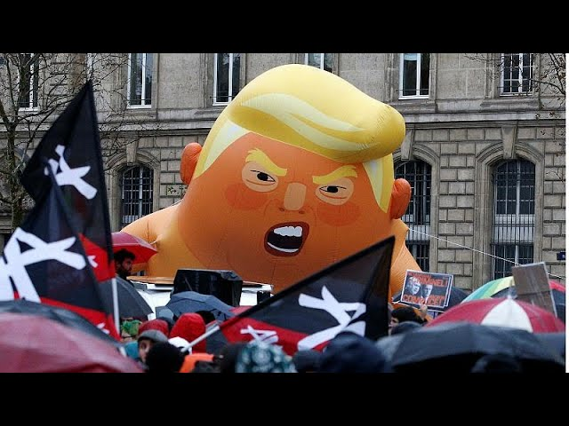 'Baby Trump' balloon flies above Paris protest