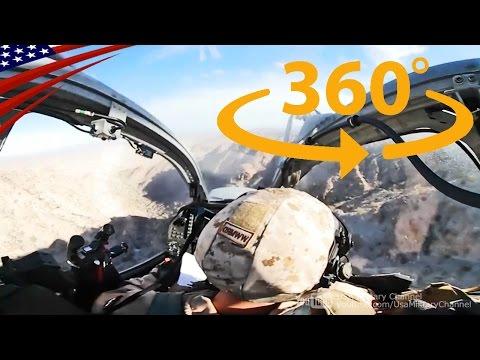 すごい迫力!攻撃ヘリコプターの低空飛行コックピット映像【360度動画】 - Amazing Cockpit View: AH-1Z Viper Low Flying [360° Video]