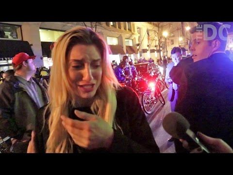 Woman harassed by Anti-Trump protesters
