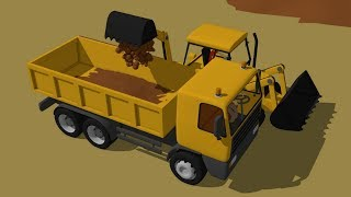 Yellow construction vehicles - Excavator and Truck load the ground