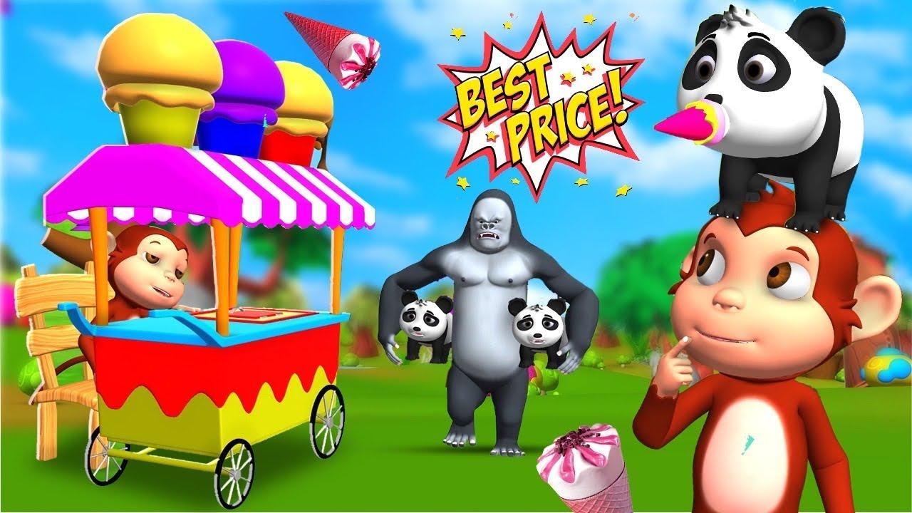Funny Monkey Sells Ice Cream with Gorilla - Animal Comedy Videos Fun Jungle Animal Videos Cartoons