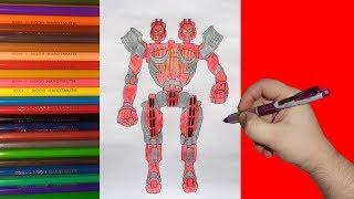 How to draw robot Twin Sities, Real Steel, Как нарисовать робота Твин Ситис