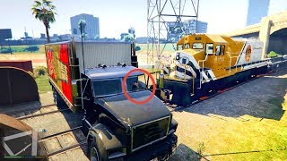 GTA 5 TRYING TO STOP THE TRAIN WITH TRUCK പണ ക ട ട L CRAZY DUDE L