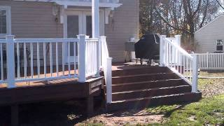 New Timbertech Deck With Dual Pergolas And Flared Stairs Built By Deck Remodelers.com Glen Rock Nj