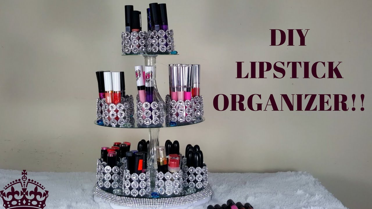 How to make diy lipstick organizer with crystals vanity youtube how to make diy lipstick organizer with crystals vanity solutioingenieria Gallery