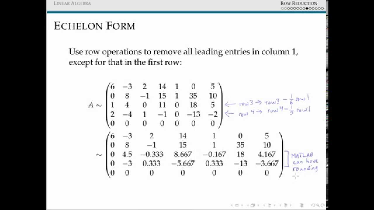 Reduced Echelon Forms of Matrices - YouTube