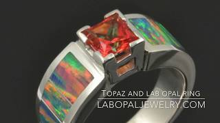 Lab Opal Ring with Orange Topaz