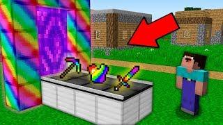 Minecraft NOOB vs PRO: HOW NOOB BUILD RAINBOW ITEMS PORTAL IN VILLAGE Challenge 100% trolling