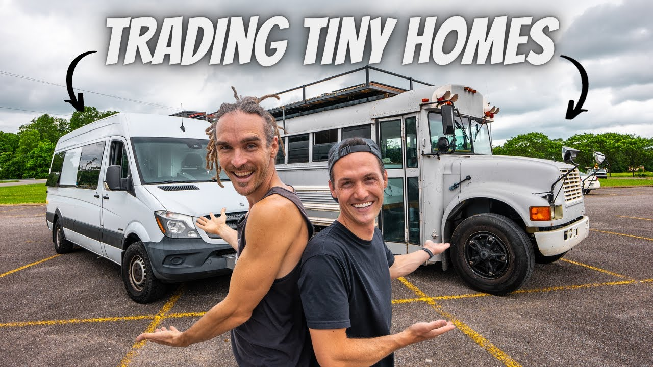 WE TRADED TINY HOMES FOR 24 HOURS! (van life vs bus life)