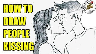 How to draw two people kissing step by step