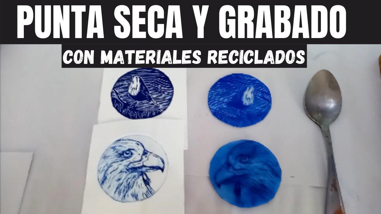 punta seca y grabado con materiales reciclados| grabado con  botes de plástico